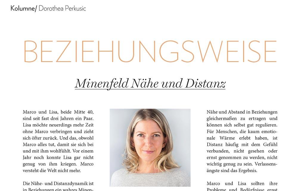Minenfeld Nähe und Distanz – erschienen in der Pfingstausgabe 2019 der ROSENHEIMERIN und der CHIEMGAUERIN