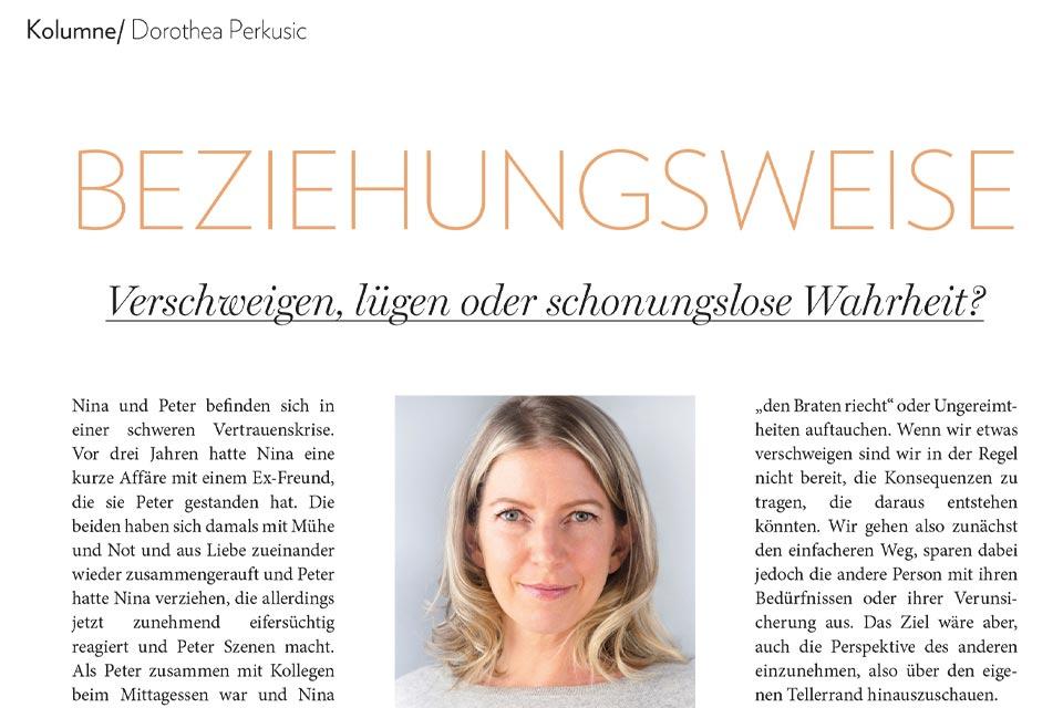 Dorothea Perkusic: Verschweigen, lügen oder schonungslose Wahrheit