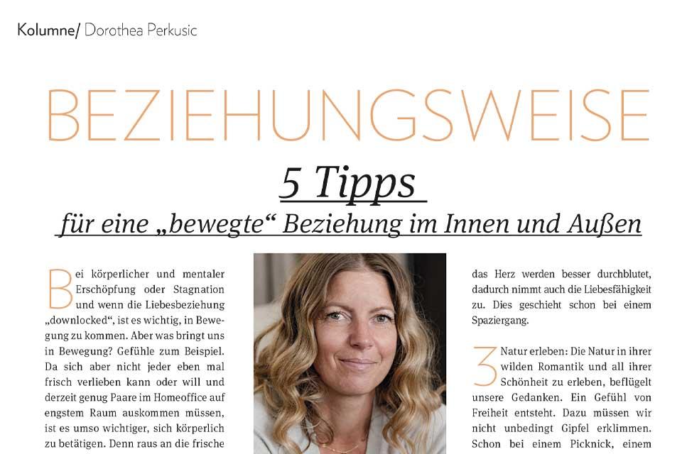 """Dorothea Perkusic: 5 Tipps für eine """"bewegte"""" Beziehung im Innen und Außen"""